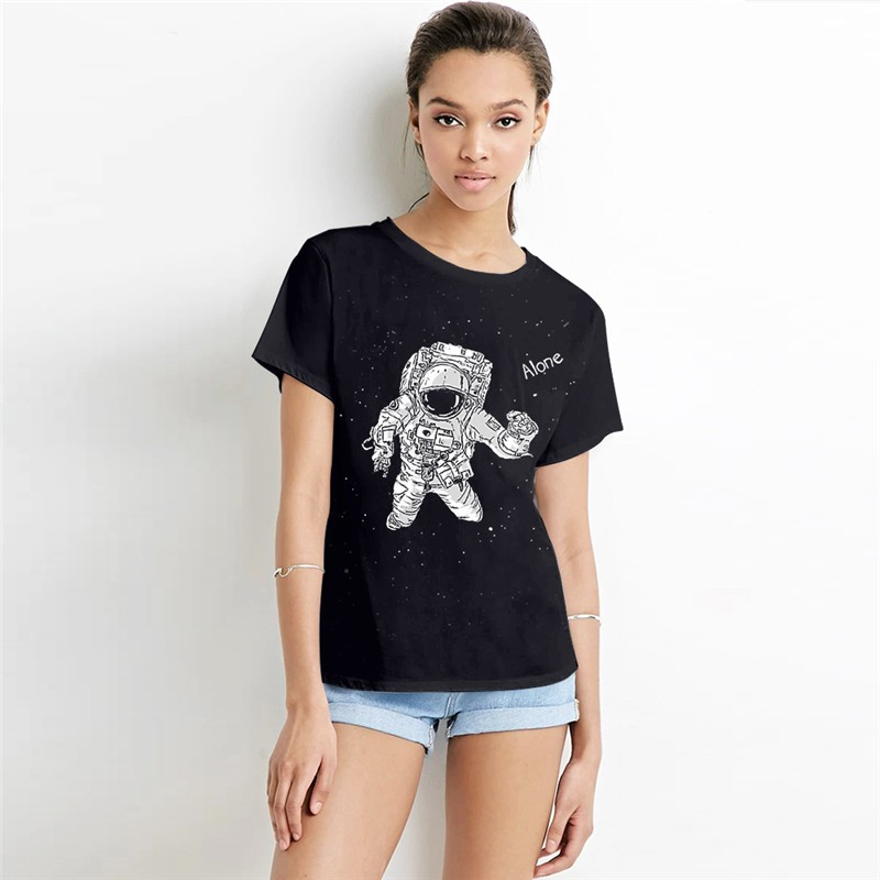 Alone astronaut women 39 s black tee short sleeved t shirt Womens black tee shirt