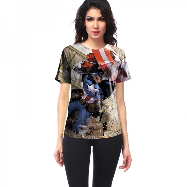 Captain America Busting Through the Wall Women's Tee - Short Sleeved T-Shirt
