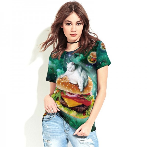 Fat Cat Flying Through Cheeseburger Galaxy Women's Tee - Short Sleeved T-Shirt
