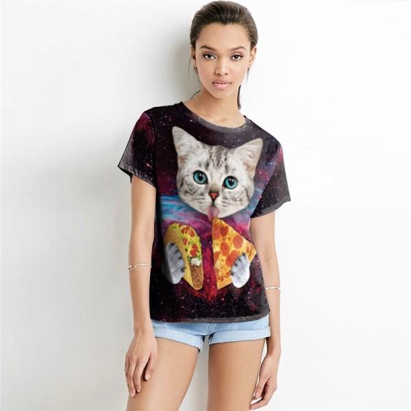 Galaxy Cat Eating Pizza Women's Black Tee - Short Sleeved T-Shirt