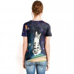 Galaxy Cat Riding Saturn Women's Tee - Short Sleeved T-Shirt