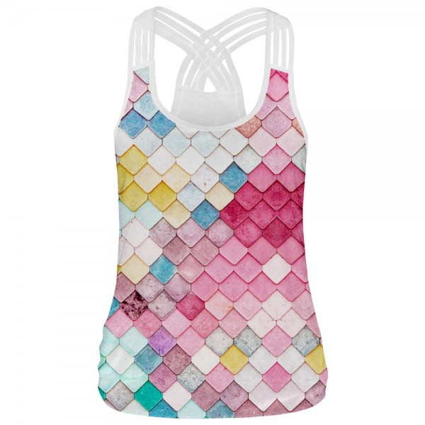 Colorful Scales U-Neck Women's Racerback Strappy Tank Top