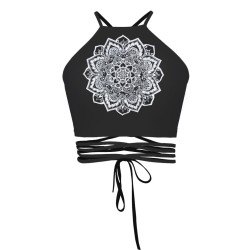 Totem Flower Black Women's Halter Top Wrap Criss Cross Crop Top