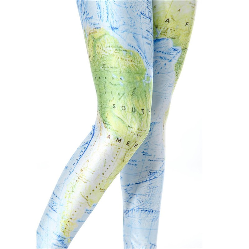 New World Map Women's Leggings Yoga Workout Capri Pants