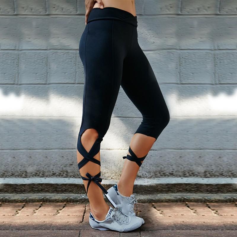 Ballerina Mid Waist Women S Leggings Yoga Workout Capri Pants