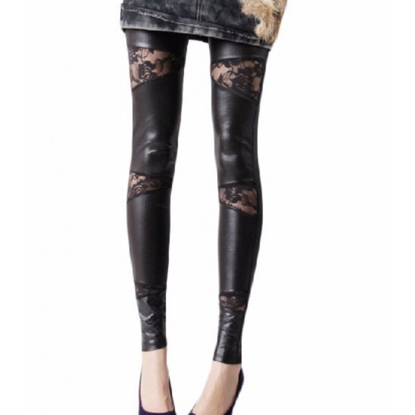 Black Faux Leather Lace Panel Women's Leggings