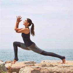 Black and Gray Mesh Fishnet Panels Women's Leggings Yoga Workout