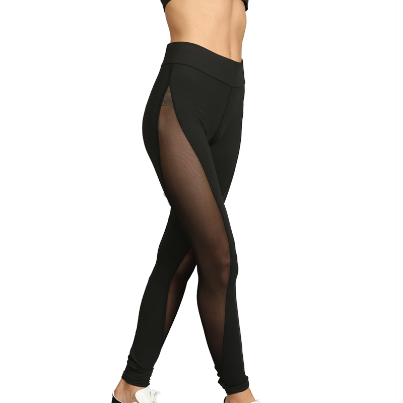 Black Full Mesh Patchwork Women's Leggings Printed Yoga