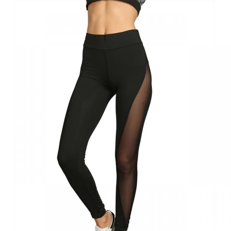 Black Full Mesh Patchwork Womenu0026#39;s Leggings Printed Yoga Pants Workout