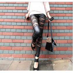 Black Leather & Lace Mesh Panel Leggings Pants