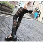 Black Leather & Lace Mesh Panel Leggings Pants
