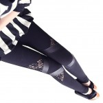 Black Leather & Lace Triangular Inserts Leggings Pants