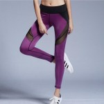 Diagonal Thigh Black or Purple Mesh Panel Women's Leggings Yoga Workout Capri Pants