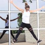 Double Stripe Mesh Panel Women's Leggings Yoga Workout