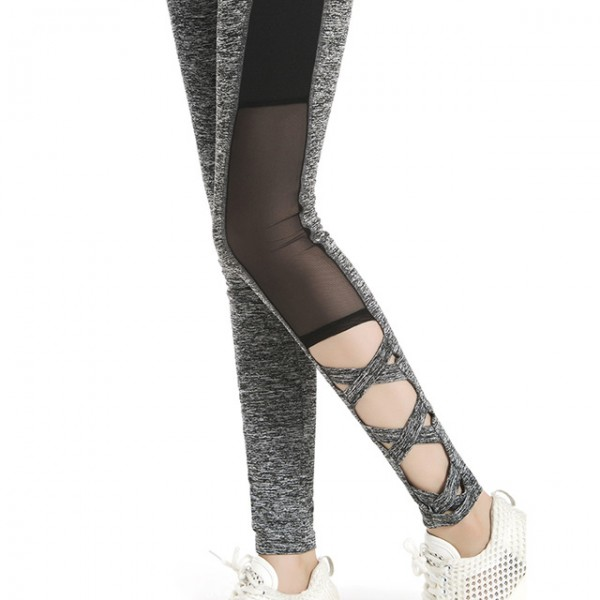 Gray Criss-Cross Black Mesh Panel Women's Leggings Yoga Workout Capri Pants