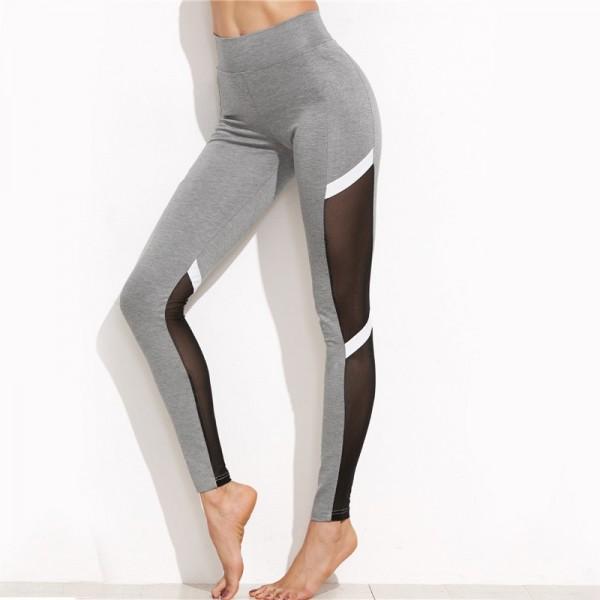 Gray and White Black Mesh Panel Women's Leggings Printed Yoga Pants Workout Activewear