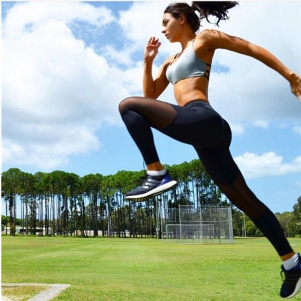 Middle Mesh Panel Black Women's Leggings Yoga Workout Capri Pants