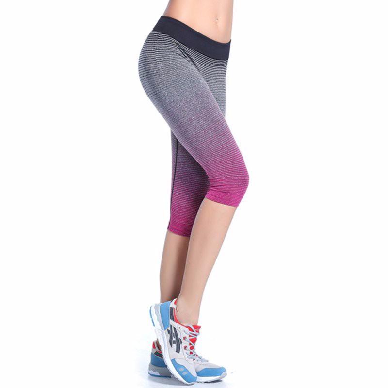 Ombre Striped Capris Women's Leggings Solid Yoga Pants Workout