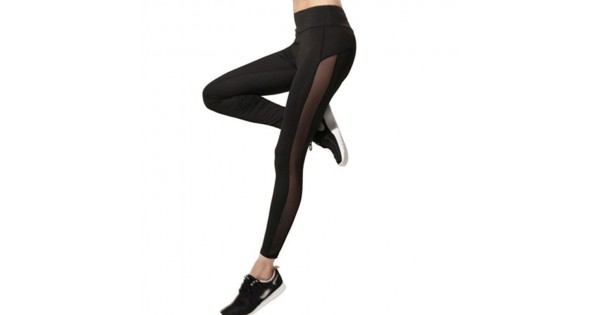 Solid Side Panel Mesh Women's Leggings Yoga Workout Capri Pants