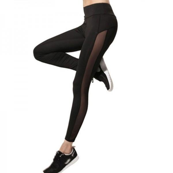 Solid Side Panel Mesh Women's Leggings Yoga Workout Capri Pants
