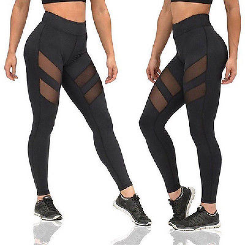 Fitness Leggings Damen Blickdicht: Top Diagonal Mesh Stripes Black Women's Leggings Yoga
