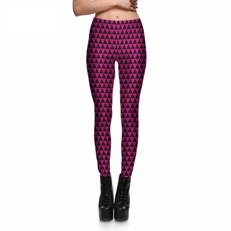 bdc8997ce1 Hot Pink and Black Triangles Women's Leggings Printed Yoga Pants Workout